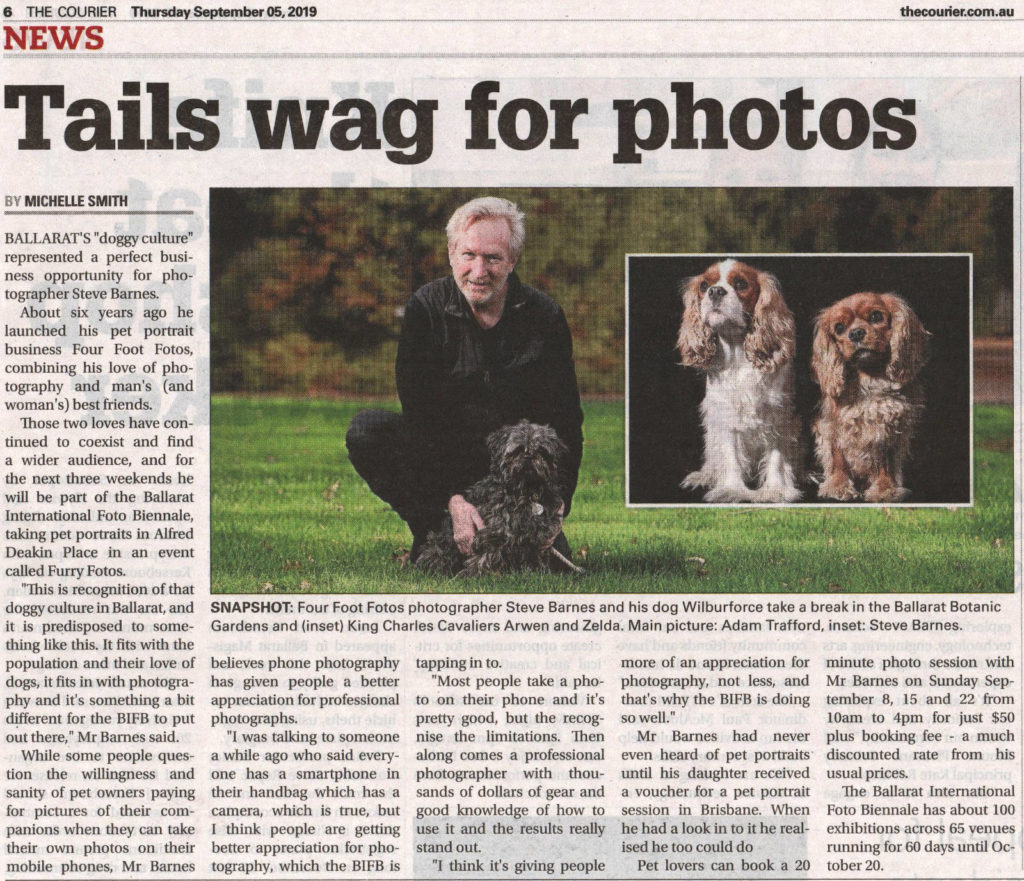Tails Wag for Photos (The Courier, Thurs 6th September 2019)